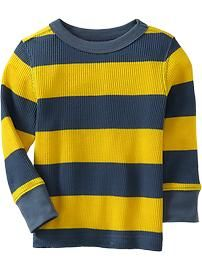 Long-Sleeved Waffle-Knit Tees for Baby