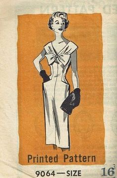 "Vintage Pattern Bow Front Wiggle Dress Marian Martin 9064 16 36"" 1960's Fashion | eBay"