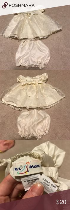 b.t. Kids girl cream dress and bloomers size 12 m B.t. Kids size 12 months cream dress with pearls around the neckline and matching bloomers! There is a stain on the tip end of the tie on the back of the dress. Can't be seen when tied if you turn the ribbon around. Bloomers have extremely light fading on back side, I almost didn't even see it! Last picture shows these flaws. Otherwise in excellent gently used condition! b.t. kids Dresses Formal