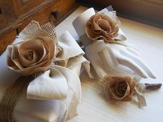 Rustic Shabby Chic Wrist Corsage, Boutonniere, handmade of cotton fabric, burlap, lace, natural brown tones, country wedding. Made to Order.