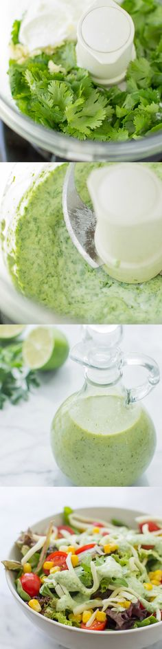 An easy, creamy Cilantro Lime Dressing recipe made with Greek yogurt! So good you'll want to eat it with a spoon. Guaranteed to brighten up any salad! Healthy Recipes, Mexican Food Recipes, Healthy Snacks, Healthy Eating, Cooking Recipes, Thm Recipes, Recipes Dinner, Potato Recipes, Crockpot Recipes