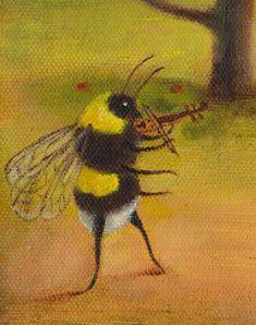 "Art Print of an Original Animal Painting: ""The Orchard Gavotte"" Kunstdruck eines originalen Tiergemäldes: Die von TheLitusGallery Arte Indie, Bee Art, Mellow Yellow, Art Plastique, Animal Paintings, Funny Paintings, Aesthetic Art, Aesthetic Drawing, Oeuvre D'art"