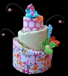 Baby Girl Topsy Turvy Diaper Cake Made to Order by babyblossomco, $110.00