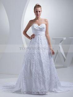 Maillie - corte a cola corte vestido de novia de satén con cuentas