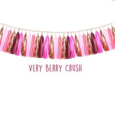 Tissue Tassel Garland fully assembled Pink-gold-berry-nude  Wedding Shower Tassel Decor Balloon Tails birth by UnicornsandKisses on Etsy
