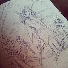 #WIP #6ofSwords #SixOfSwords #BrynnElizabeth #Terminarosa #78Tarot #SeventyEightTarot #tarot #card #sketch #concept #boatman #woman #landscape #swords #cloaked #figures #water https://www.facebook.com/Terminarosa