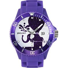 PICONO Purple Juggler Time and Date Water Resistant Analog Quartz Watch  Elephant -- Click on the image for additional details.