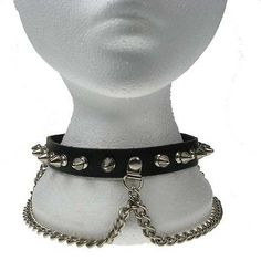 Punktrash 1 Row Spike And Chain Neck Band/Dog Collar Row Spike And Chain] - 1 Row Spike Studded Leather Dog/Neck Collar With Chain Detail With adjustable buckle fastening and 9 holes to fit a varity of neck sizes. Slave Collar, Studded Leather, Leather Leaf, Leather Wristbands, Anklets, Ear Piercings, Chokers, Chain, Batcave