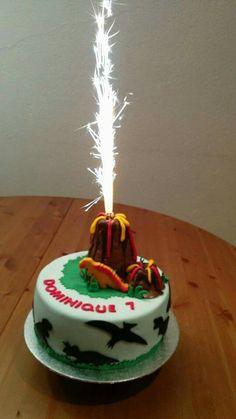 Dinosaur Cake with a Volcano