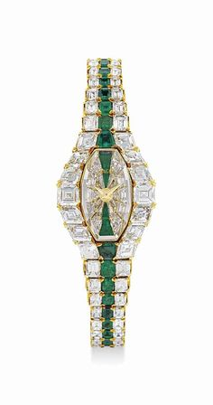 Piaget lady's magnificent and rare gold, diamond and emerald-set bracelet watch, circa Ring Armband, Beautiful Watches, Diamond Are A Girls Best Friend, Luxury Watches, Devon, Fashion Watches, Cartier, Fine Jewelry, Geek Jewelry
