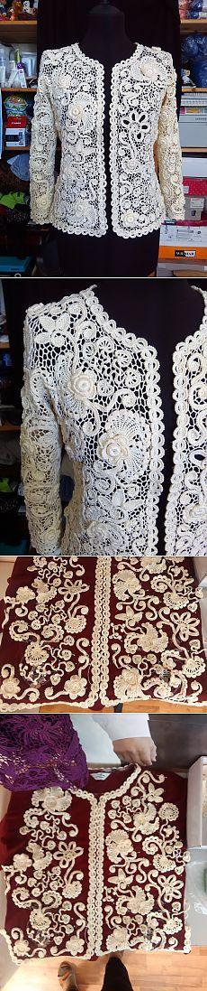 Irish crochet jacket showing layout of motifs..