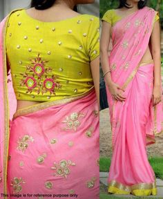 Buy Pink Georgette floral Embroidered Saree at Rs. Get latest party wear sarees for womens at Peachmode. Simple Blouse Designs, Saree Blouse Neck Designs, Stylish Blouse Design, Blouse Patterns, Trendy Dresses, Casual Dresses, Fashion Dresses, Saree Fashion, Bollywood Fashion