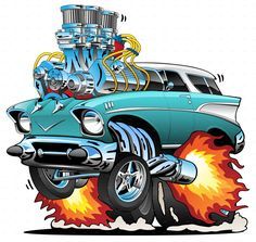 Buy Classic Fifties Hot Rod Muscle Car Cartoon Vector Illustration by jeffhobrath on GraphicRiver. Awesome old school fifties style station wagon, popping a wheelie, huge chrome engine, three carburetors, flames pour. Ford Classic Cars, Best Classic Cars, Classic Muscle Cars, Weird Cars, Cool Cars, Bmw I3, Auto Illustration, Hot Rod Autos, Cool Car Drawings