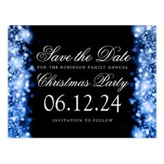 #savethedate #postcards - #Christmas Save The Date Sparkling Lights Blue Postcard