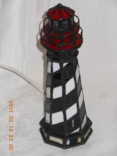 stain glass lighthouse lamp