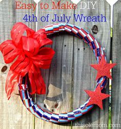 Easy to Make DIY 4th of July Wreath. Cost $3 for supplies and 30 minutes to make it. (made from Pipe Insulation and Dollar Tree Items)