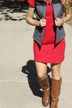 Fall Look - Dress, vest and boots. Mossimo Vest from Target!