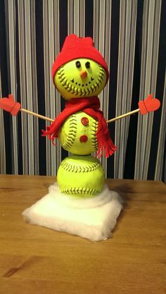Softball Snowman / Baseball Snowman by 360Softball on Etsy, $18.00
