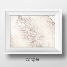 San Francisco California Street Map Modern Minimalist Art Print Office or Home Wall Decor
