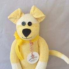 Yellow Sock Monkey Puppy Dog Doll by MarysMonkeys on Etsy, $34.95
