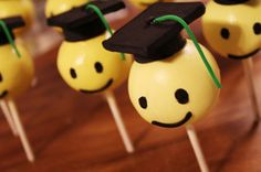 Smiley Face Graduation Cake pops