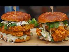 Domowe Stripsy z Kurczaka / Chicken burger / Oddaszfartucha - YouTube Salmon Burgers, Lunch Recipes, Food Videos, Hot Dogs, Hamburger, Grilling, Chicken, Ethnic Recipes, Youtube