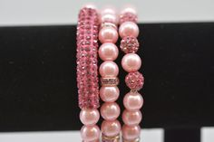 Rhinestone Bar Pave Beaded Stretch Stacking by SLKDesignsBoutique