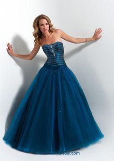 peacock blue taffeta and tulle drop-waist ballgown