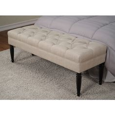 Claudia Diamond Secret Natural Tufted Bench | Overstock.com Shopping - The Best Deals on Benches