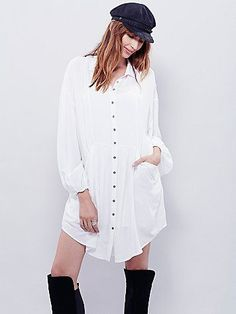 Emery Long Sleeve Mini | Super drippy sheer buttondown mini dress featuring pleat detailing along the waist and slouchy front pockets.  Long sleeves with elastic cuffs. Comes with a removable slip that has adjustable straps.