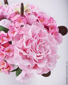 Интерьерные композиции ручной работы. Ярмарка Мастеров - ручная работа Букет с розовыми пионами и цветами туберозы. Handmade.