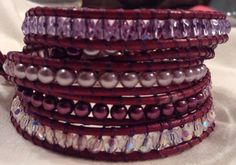Chan Luu inspired Dark Pink and Purple AB Crystal and Pearl 4 Wrap Leather Bracelet on Etsy, $43.99