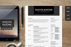 Resume/CV Set - The Hipster by SNIPESCIENTIST on @creativemarket