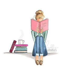 """Nichols Illustration — """"Stay inside and read"""" kinda weather 💗. Art And Illustration, Illustrations, I Love Books, Good Books, Copic Art, Girl Reading, Book Nerd, Fashion Sketches, Book Lovers"""