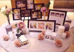シンプルモダンでおしゃれなウェルカムスペースデザインまとめ Wedding Guest Book, Wedding Table, Diy Wedding, Wedding Photos, Spring Wedding Decorations, Wedding Centerpieces, Table Decorations, Wedding Welcome Board, Homemade Wedding Gifts
