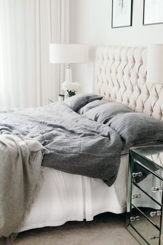White bedroom tufted headboard