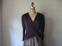 vintage 1980s retro 1940s dress / black rayon by SHESABETTIE, $114.00