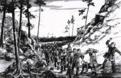 Hier is een tekening van een zogenaamde dodenmars te zien. Walter Süskind is naar alle waarschijnlijkheid in 1945 bij zo'n dodenmars om het leven gekomen. Een dodenmars was een door de nazi's verplichte wandeling van kamp gevangenen naar meestal een ander kamp. Het waren vaak lange tochten.