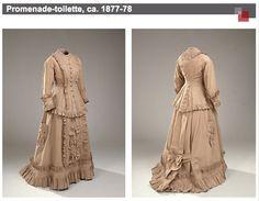 Walking dress, ca. 1877-78, light brown merino wool.