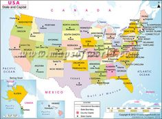 US States And Capitals Map USA Maps Pinterest States - Map of the us states and their capitals