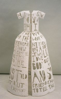 Paper Poem T-shirt: Detail 1993 by Leslie Dill Stained paper and thread 127 x 20 x 7 -- found via blog - @contemporary basketry