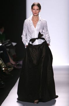 Pin for Later: Carolina Herrera Teaches Us the Art of Being a Lady Fall 2005 Her personal uniform occasionally makes its way onto the runway.