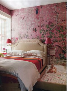 wallpaper! on one wall in a girls room - pink chinoiserie for the boudoir. Actually this is a couples and their child's room. Miles Redd's assistant actually .s