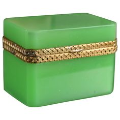 Opaline Green Glass Box | From a unique collection of antique and modern decorative boxes at http://www.1stdibs.com/furniture/more-furniture-collectibles/decorative-boxes/