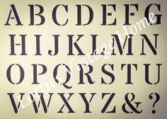 (ref Custom Stencils, Custom Vinyl, Hair Stenciling, Capital Alphabet, Les Stickers, Alphabet Stencils, Vintage Fonts, French Furniture, Stencils