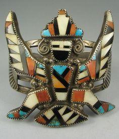 Vibrant Wide Zuni Mosaic Inlay Knifewing Bracelet