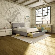 AMISCO - Surrey Bed - Furniture - Bedroom - Urban collection - Contemporary - Upholstered bed with storage drawer Fine Furniture, Furniture Making, Bedroom Furniture, Bed Storage, Storage Drawers, French Bed, Wall Bar, Upholstered Beds, Exposed Brick