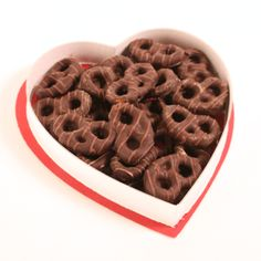 7 oz box of chocolate covered pretzels in a heart-shaped box