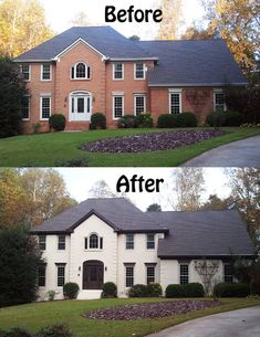 White Brick House Black Windows Exterior Color Change Lower Different Than Penthouse Area Townhouse Curb Appeal With Painted White Brick Black Trim White