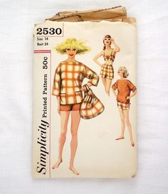 Vintage Simplicity 2530 size 14 sewing pattern bra shorts overblouse beach bag…